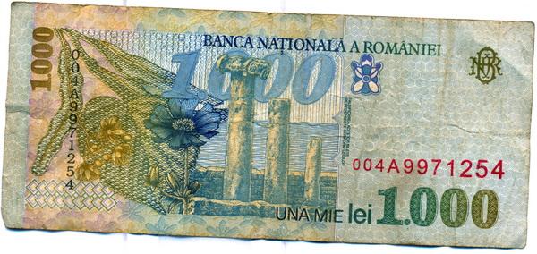 Bancnotă de una mie lei verso (1998)