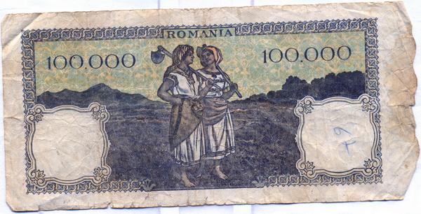 Bancnotă de una sută mii lei verso (1946)