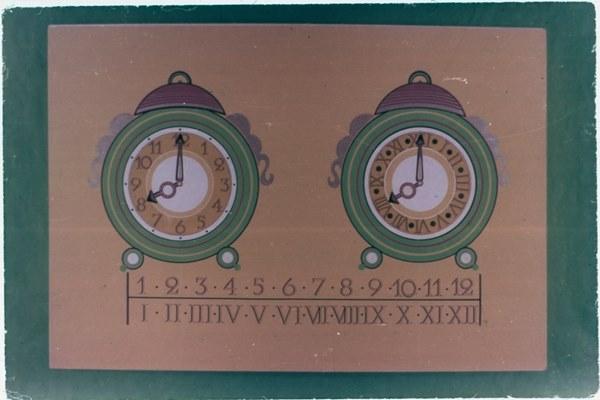 Diapozitiv: Ceas cu cifre arabe şi ceas cu cifre romane